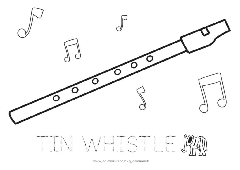 Lembar mewarnai thin whistle untuk anak